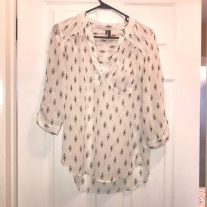 Chiffon black and white blouse